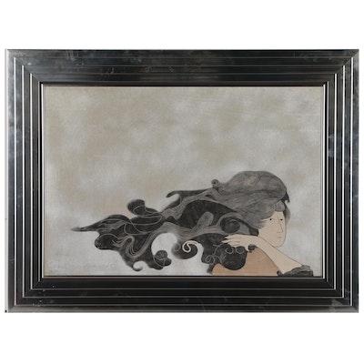 "Stephen White Woodcut ""Wind"", 1970"
