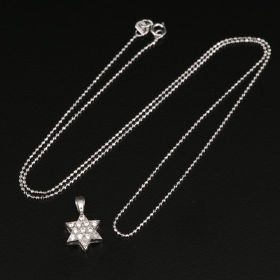 14K Cubic Zirconia Star of David Pendant with Bead Chain Necklace