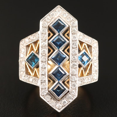 18K Sapphire and Diamond Geometric Ring