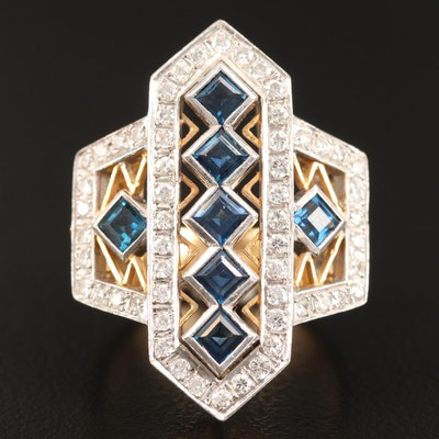 18K Sapphire and Diamond Geometric Ring