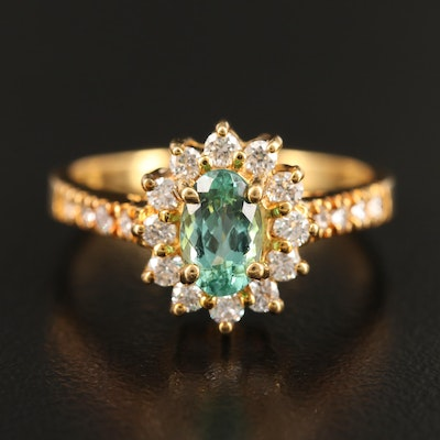 18K Tourmaline Ring with Diamond Halo and Shoulders