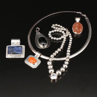 Sterling Necklace and Pendants with Sodalite, Jasper and Black Onyx