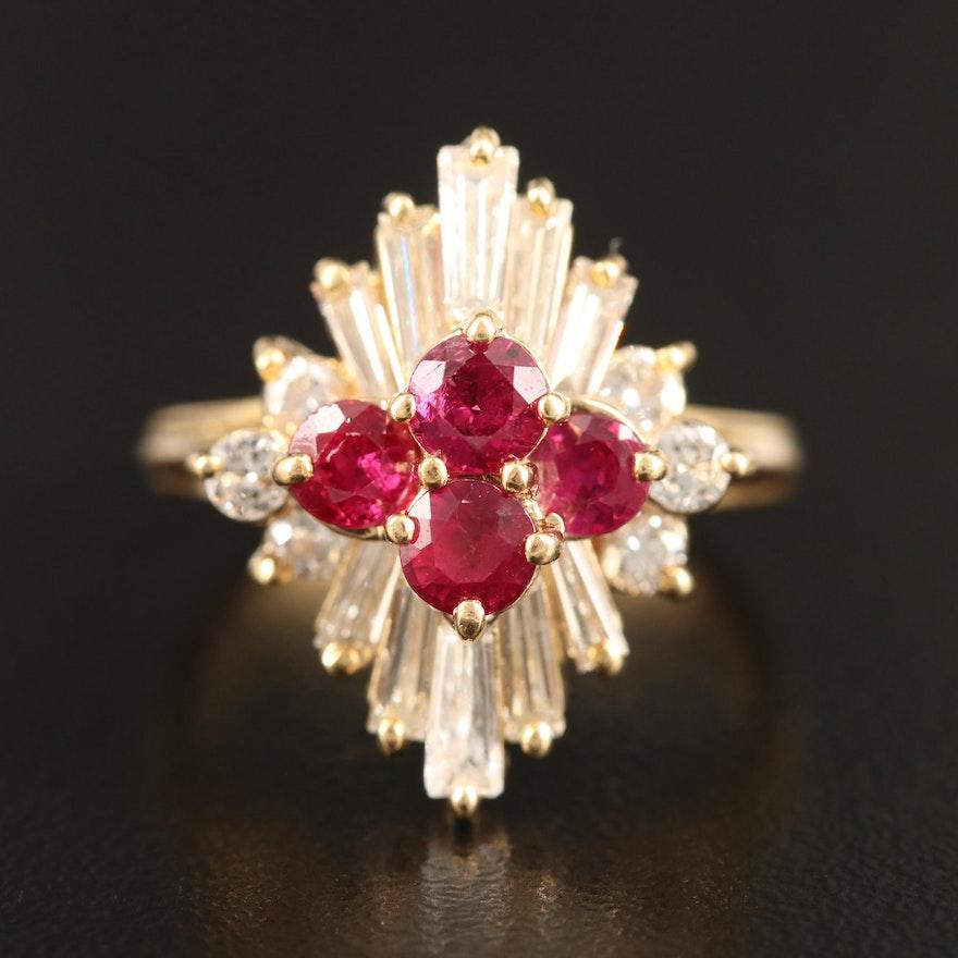 18K Diamond and Ruby Ballerina Ring