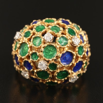18K Diamond and Enamel Dome Ring