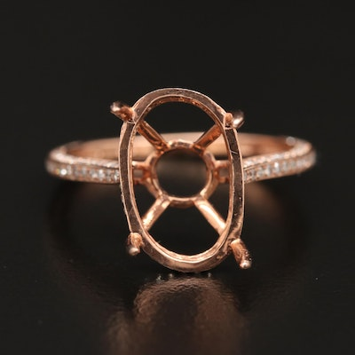 10K Rose Gold Diamond Semi-Mount Ring