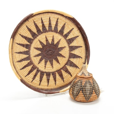 Zulu Handwoven Tray and Basket