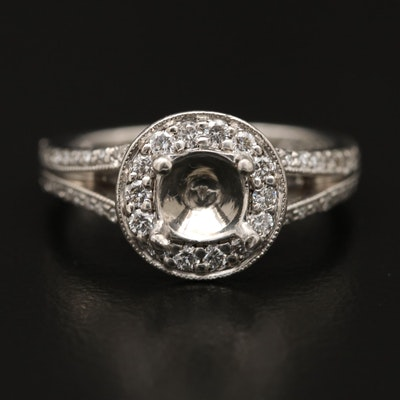 Scott Kay Palladium Diamond Semi-Mount Ring
