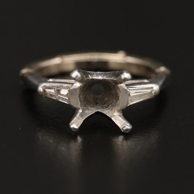 Platinum Diamond Semi-Mount Ring with 14K Arthritic Shank