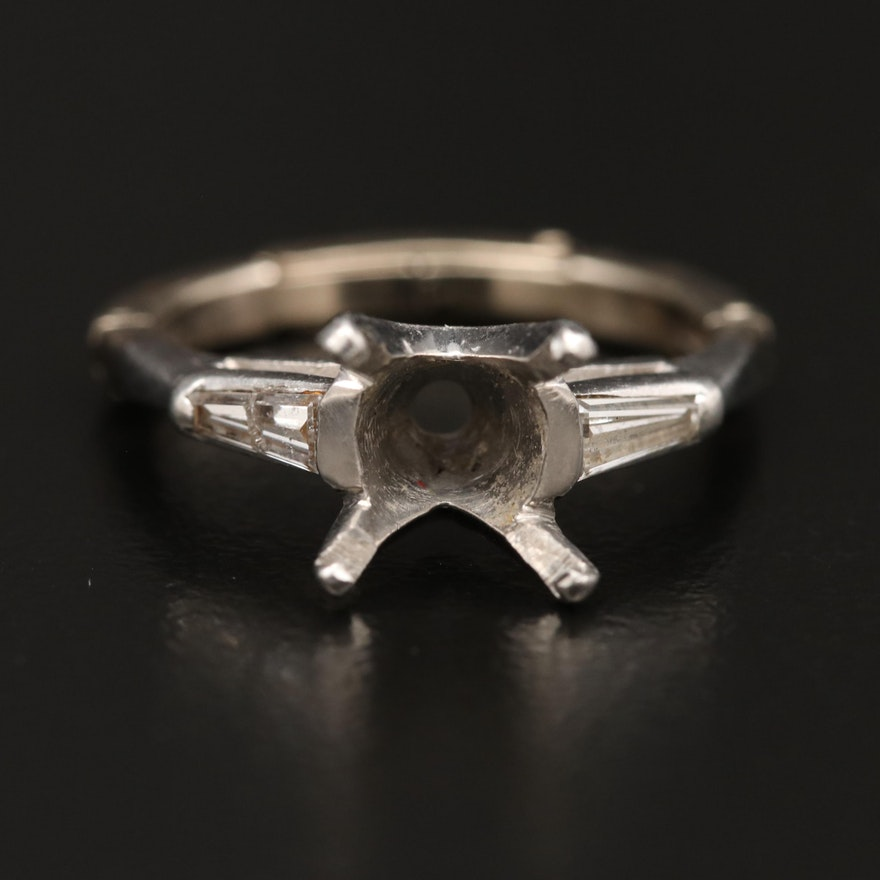 Platinum Diamond Semi-Mount Ring with 14K Arthritic Shank