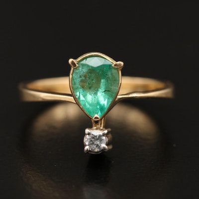 18K Emerald Ring with Diamond Accent