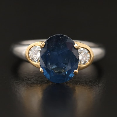 Platinum 2.27 CT Sapphire and Diamond Three Stone Ring with 18K Accents