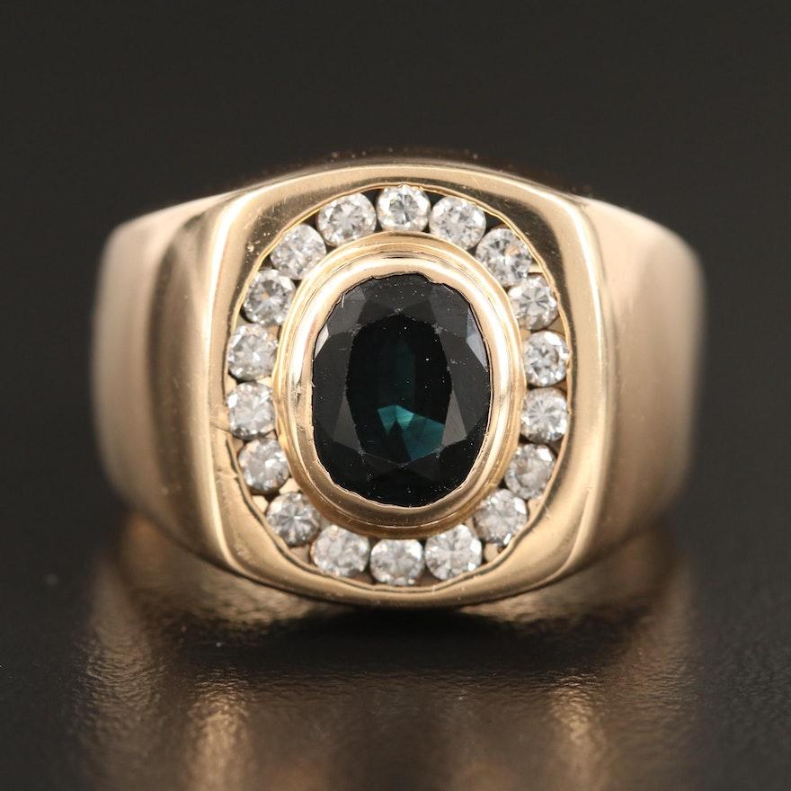 14K 2.00 CT Sapphire and Diamond Ring