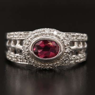 14K Tourmaline and Diamond Halo Ring