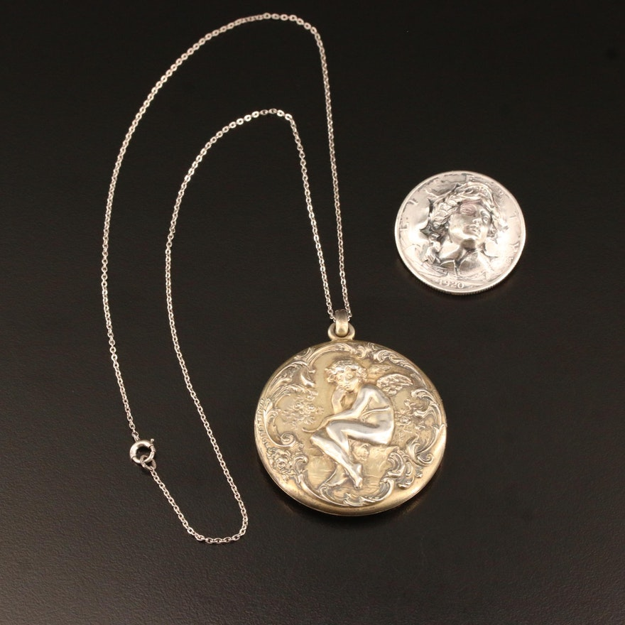 Vintage Altered 1920 Liberty Half Dollar Brooch and Cherub Locket Necklace