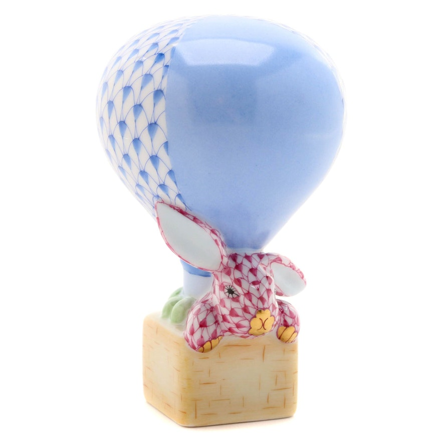 """Herend Blue Fishnet with Gold """"Hot Air Balloon Bunny"""" Porcelain Figurine"""