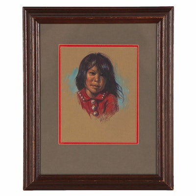 "Vel Miller Gouache Portrait Painting of a Child ""Maria Ney"", 1973"