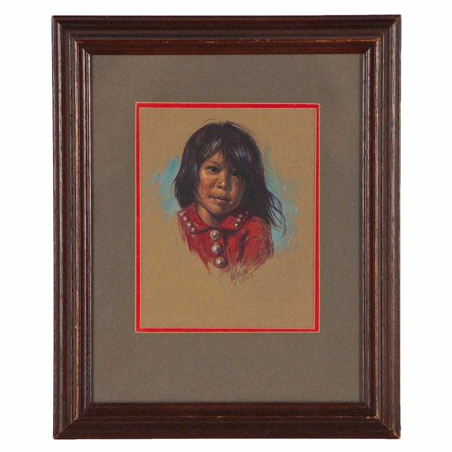 "Vel Miller Gouache Portrait Painting of a Child ""Maria Ney"", 1973"