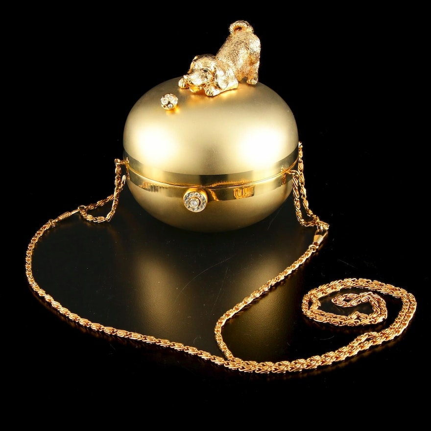 Sasha Evening Bag in Gold Tone Finish Depicting Dog Playing with Bejeweled Ball