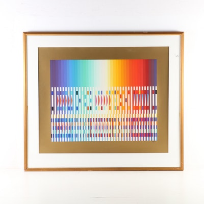 Yaacov Agam Op Art Serigraph of Geometric Abstract Composition, 20th Century