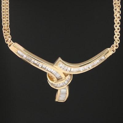 18K 1.53 CTW Diamond Knot Stationary Necklace