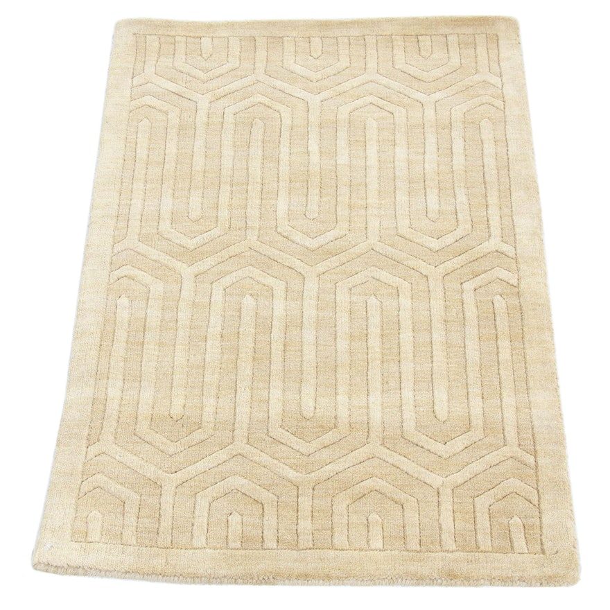 2'1 x 3' Hand- Knotted Indian Mid Century Modern Style Rug, 2000s