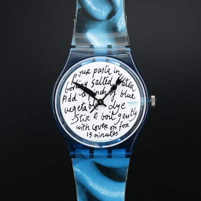 1995 Swatch Blue Pasta Plastic Quartz Wristwatch