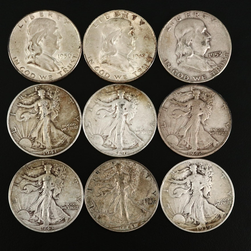 Nine Walking Liberty and Franklin Silver Half Dollars