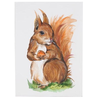 Anne Gorywine Watercolor Painting of Red Squirrel, 2020
