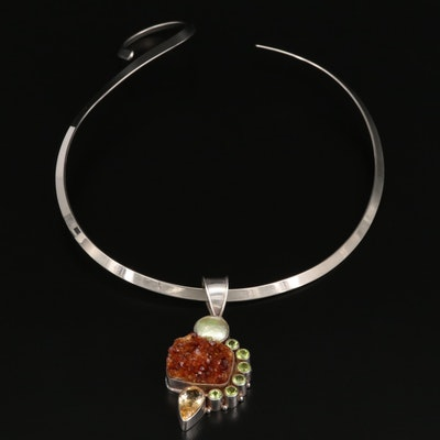 Sterling Citrine, Peridot and Pearl Pendant Necklace