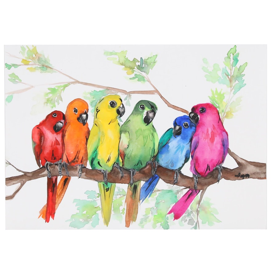 Anne Gorywine Watercolor Painting of Parrots, 2019