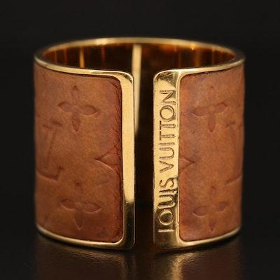 """Louis Vuitton """"Skin"""" Embossed Calfskin Monogram Ring"""