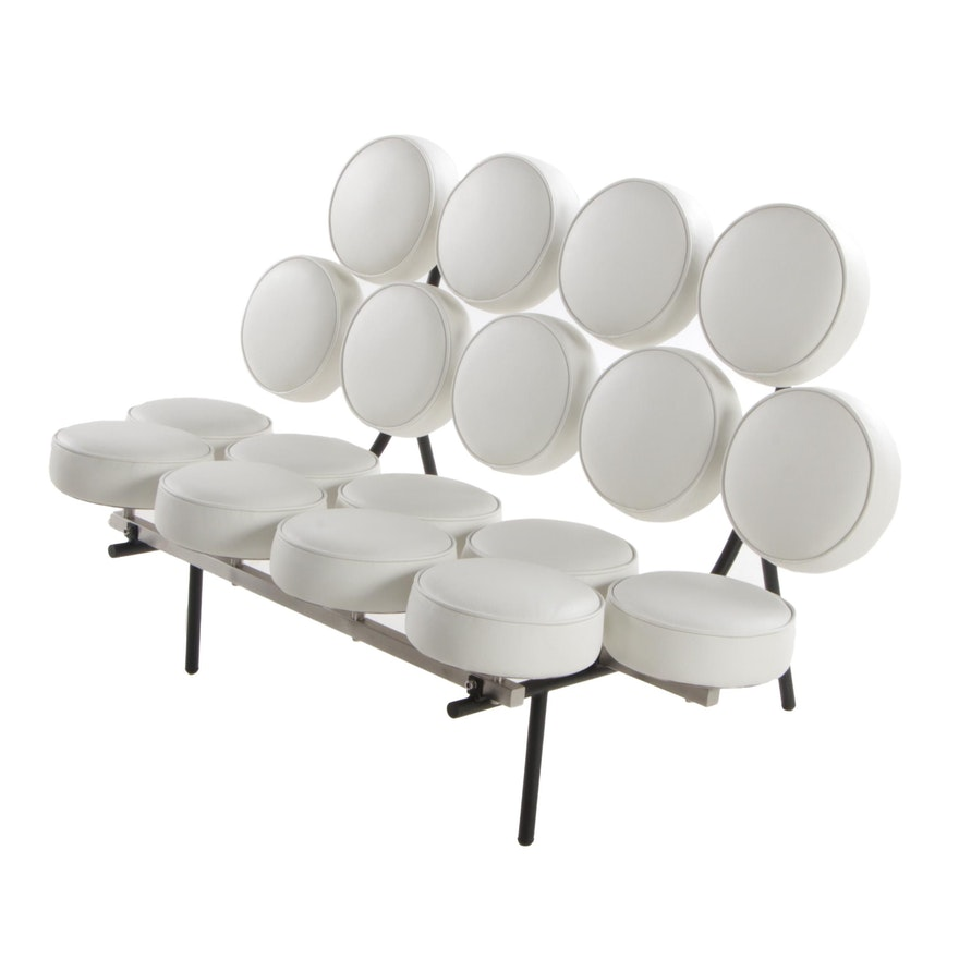 Modernist Style White Leather Marshmallow Sofa after George Nelson & Associates