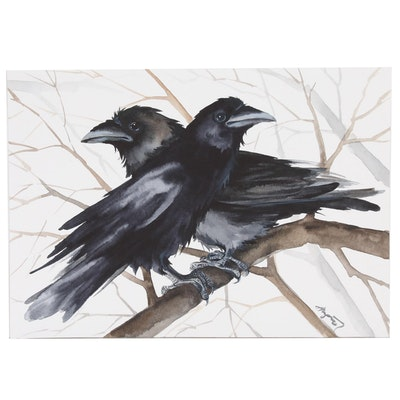 Anne Gorywine Watercolor Painting of Ravens, 2020