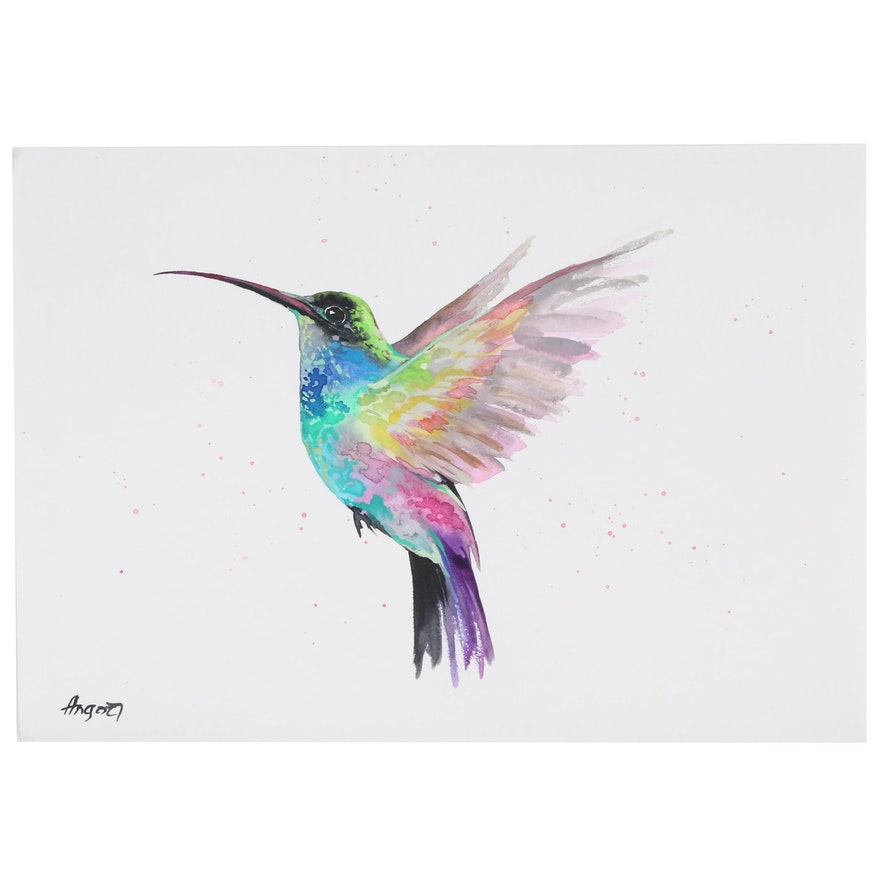 Anne Gorywine Watercolor Painting of Humming Bird, 2019