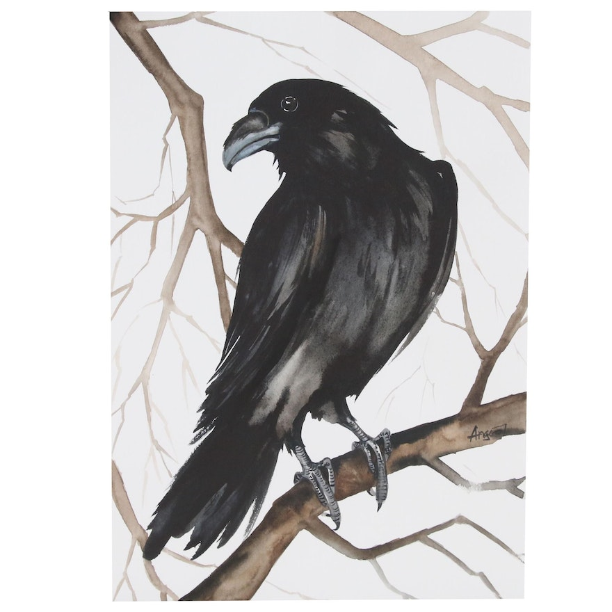 Anne Gorywine Watercolor Painting of Raven, 2020