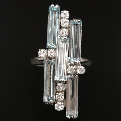 18K Aquamarine and Diamond Pointer Ring