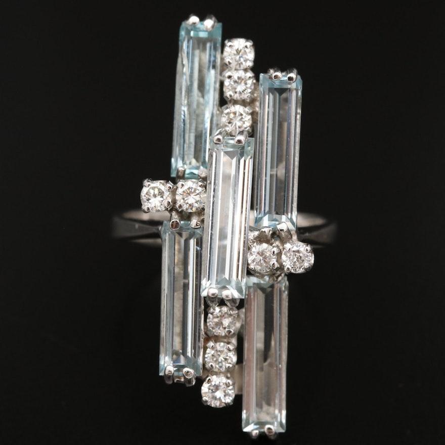 18K Aquamarine and Diamond Pointer Ring