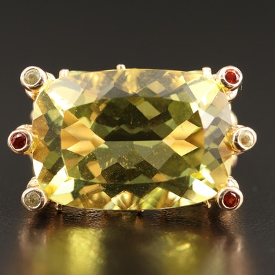 14K Bamboo Motif Ring with Citrine, Peridot, Tourmaline and Garnet