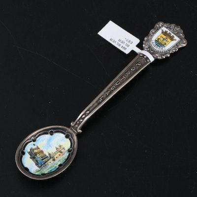 Vintage Silver Lisbon, Portugal Souvenir Spoon, Mid to Late 20th Century