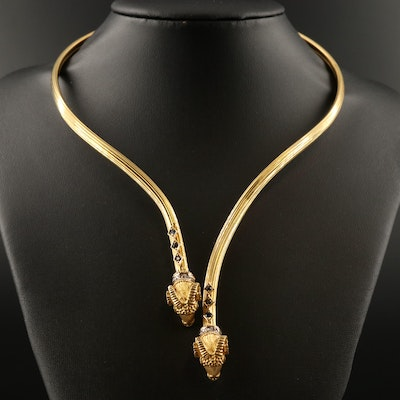 18K Ram's Head Torc with Diamond and Sapphire Accents