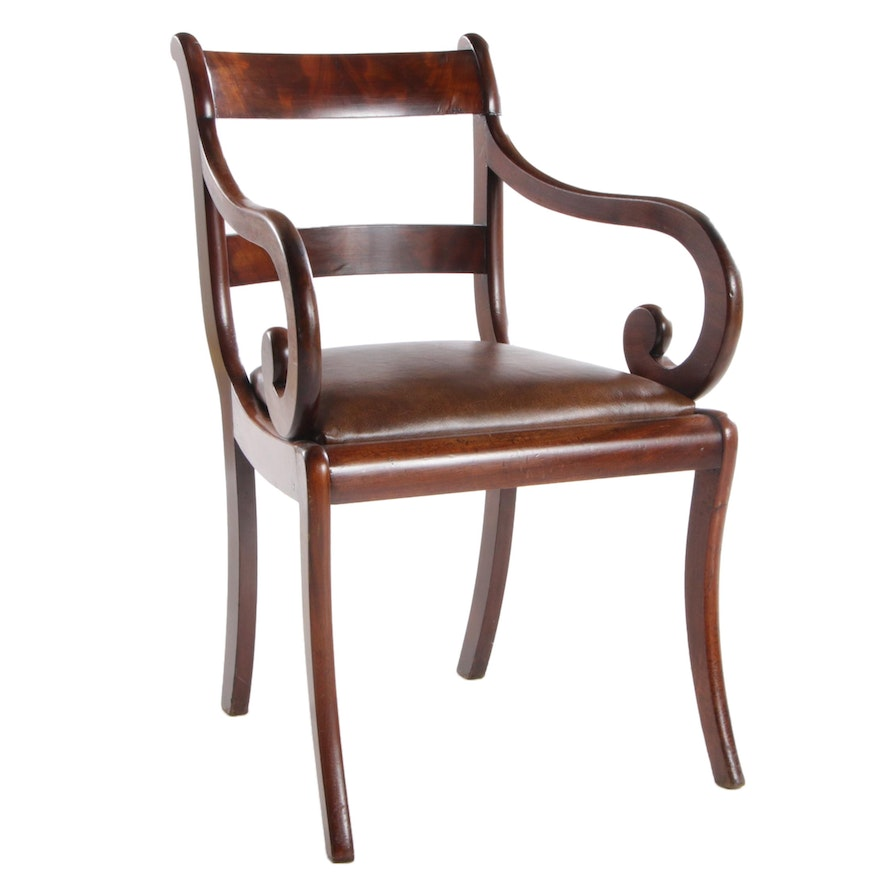Empire Style Walnut Leather Upholstered Arm Chair