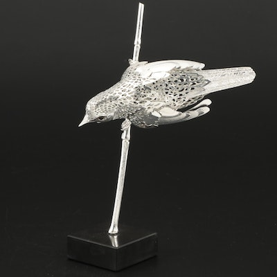 "Christofle ""Reed Warbler"" Pierced Silver Plate Figurine, 1980s"