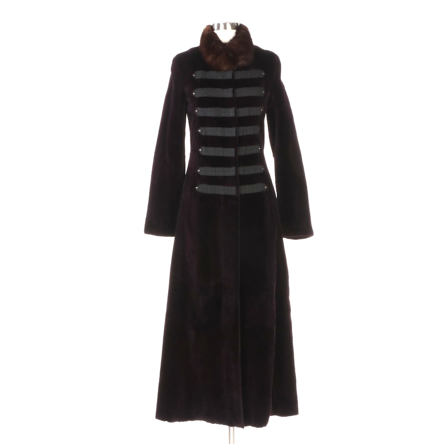 Aubergine Sheared Mink Fur Full-Length Coat with Sable Fur Collar by MR