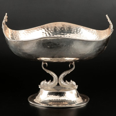 Italian Hammered Silver Plate Dolphin Centerpiece Bowl, Mid to Late 20th Century