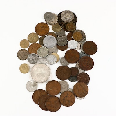Sixty-Three Vintage Foreign Coins, Including Silver