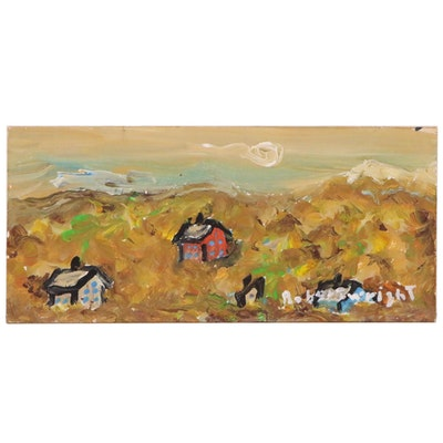 Robert Wright Folk Art Landscape Acrylic Painting, Late 20th Century