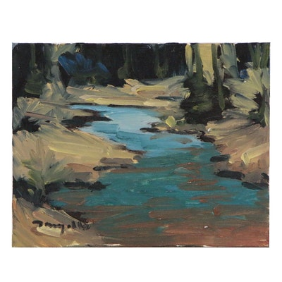 "Jose Trujillo Oil Painting ""River at the Morning Light"", 2015"