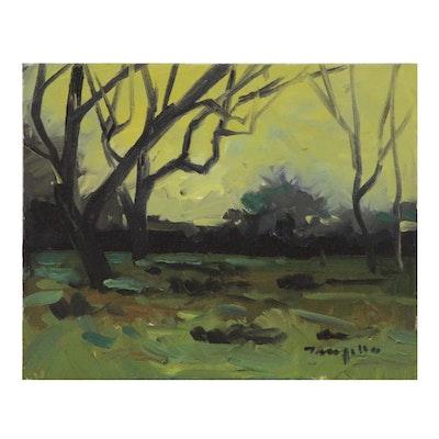 "Jose Trujillo Oil Painting ""Early Light"", 2013"