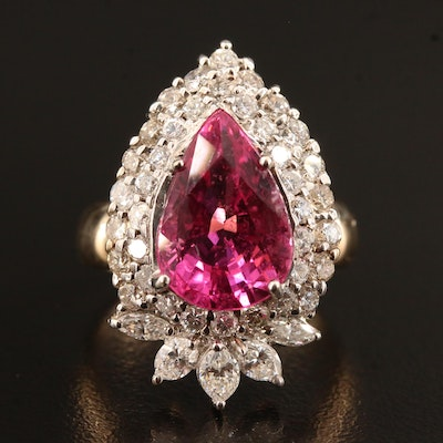 14K 5.26 CT Pink Tourmaline and 1.64 CTW Diamond Ring with Double Halo