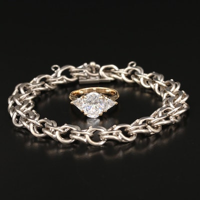 14K Cubic Zirconia Ring with Sterling Silver Chain Bracelet